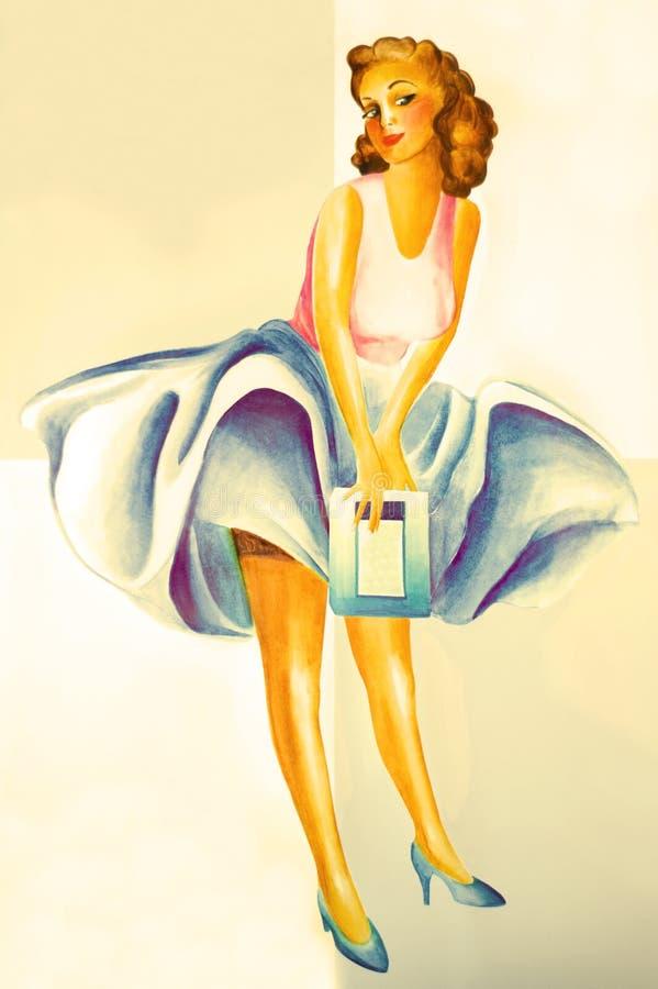 reklamuje dziewczyna rocznika ilustracji