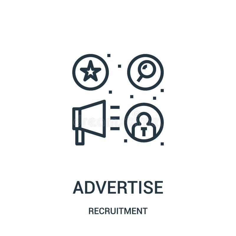 reklamuje ikona wektor od rekrutacyjnej kolekcji Cienka linia reklamuje kontur ikony wektoru ilustrację royalty ilustracja