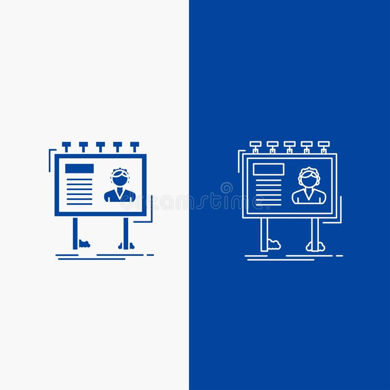reklamy, reklamy, billboarda, plakata, deski linii i glifu sieć, Zapina w Błękitnego koloru Pionowo sztandarze dla UI i UX, ilustracji