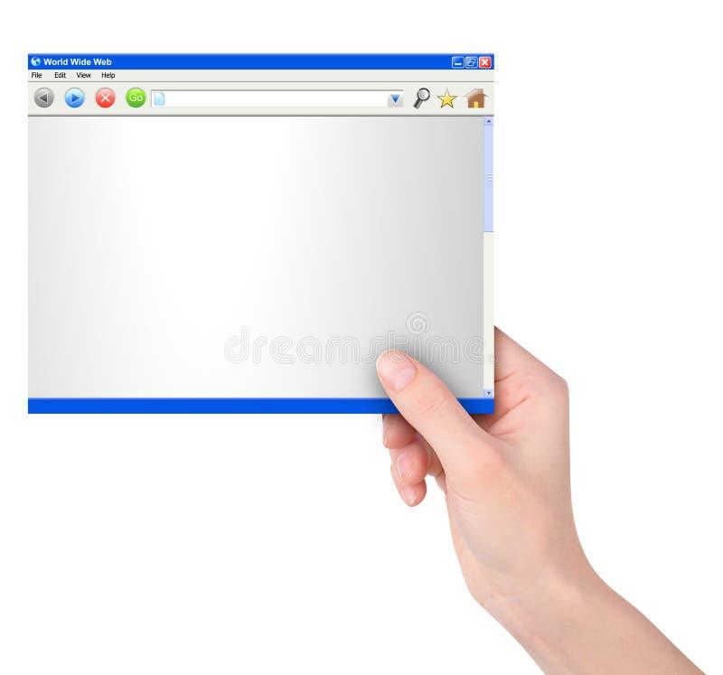 reklamy ręki mienia internetów strona internetowa ilustracja wektor