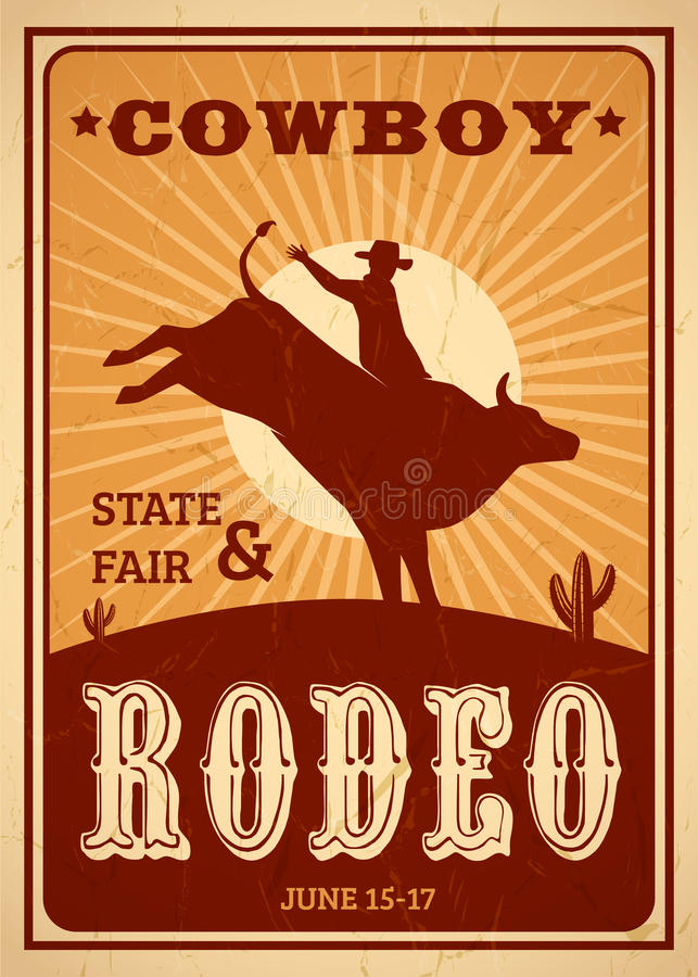 Reklamy rodeo plakat royalty ilustracja