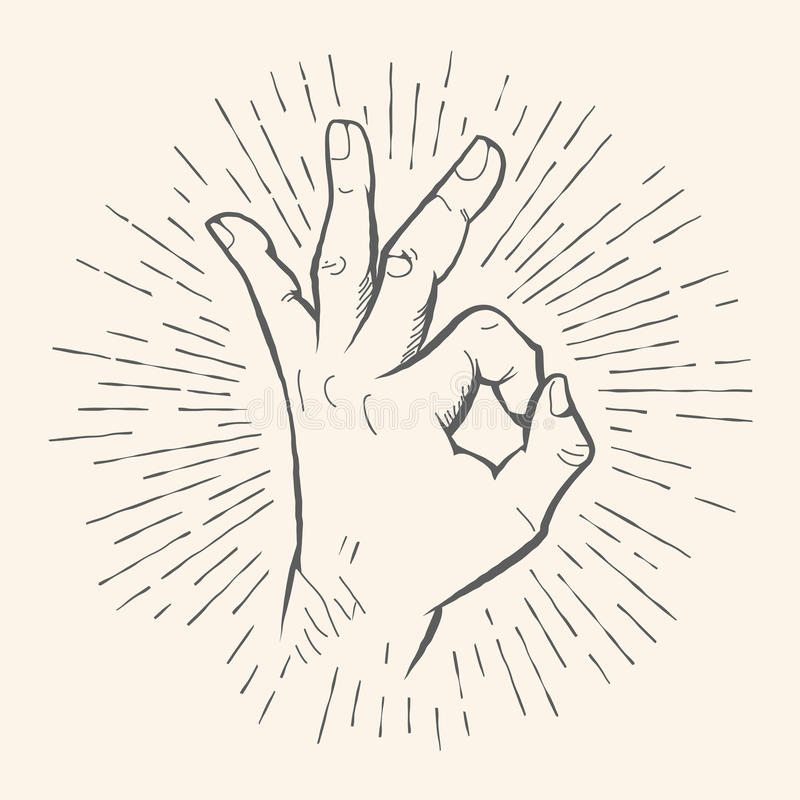 reko gest för vektor Den drog Allright teckenhanden skissar stock illustrationer