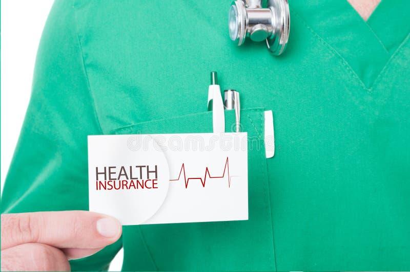 Rekommenderande sjukförsäkring för doktor eller för läkare arkivfoton