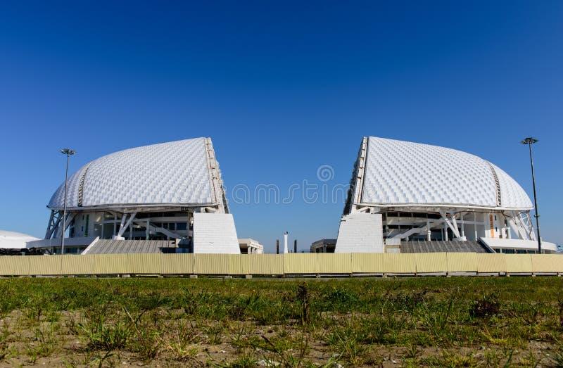 Rekonstruktion av Olympicet Stadium Fisht arkivbild