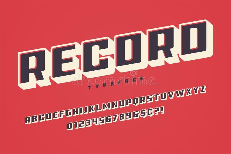 Rekord- Anzeigenschriftart, Alphabet, Schriftbild, Versalien-charac lizenzfreie abbildung