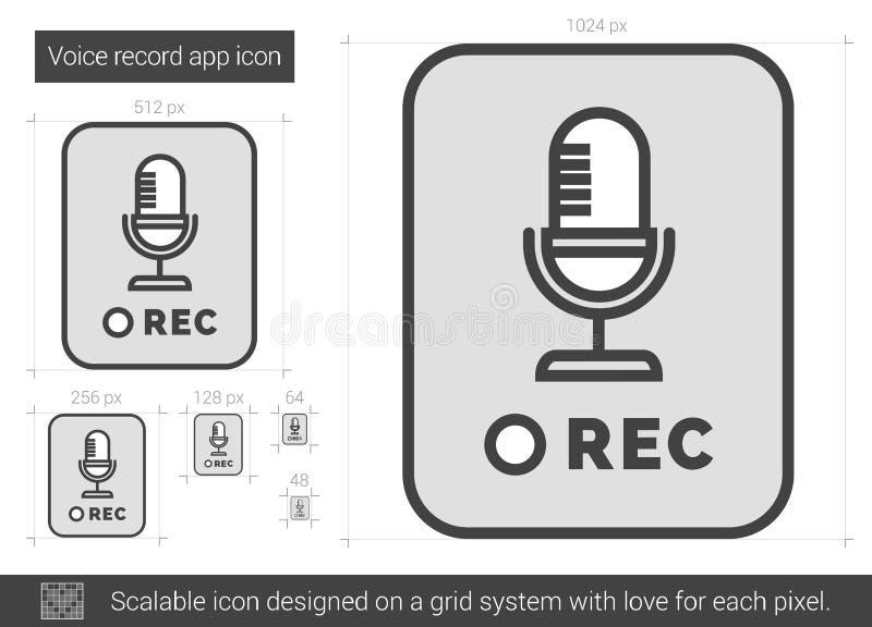 Rekord- app-linje symbol för stämma vektor illustrationer