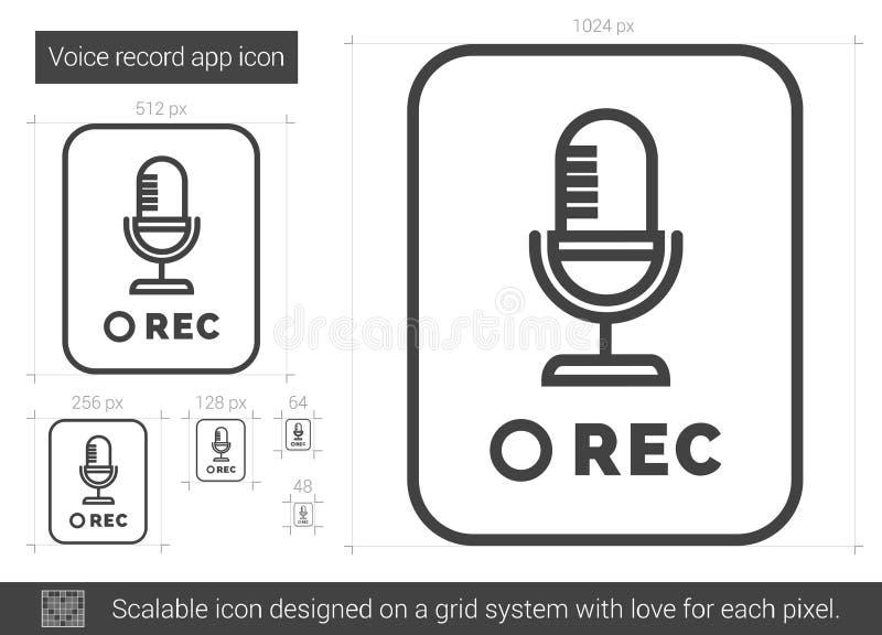 Rekord- app-linje symbol för stämma royaltyfri illustrationer