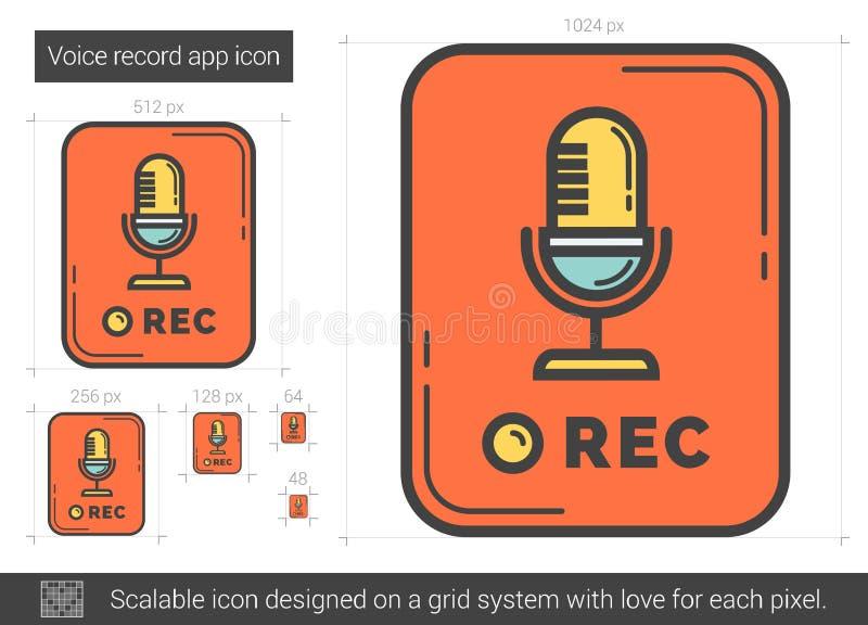 Rekord- app-linje symbol för stämma stock illustrationer