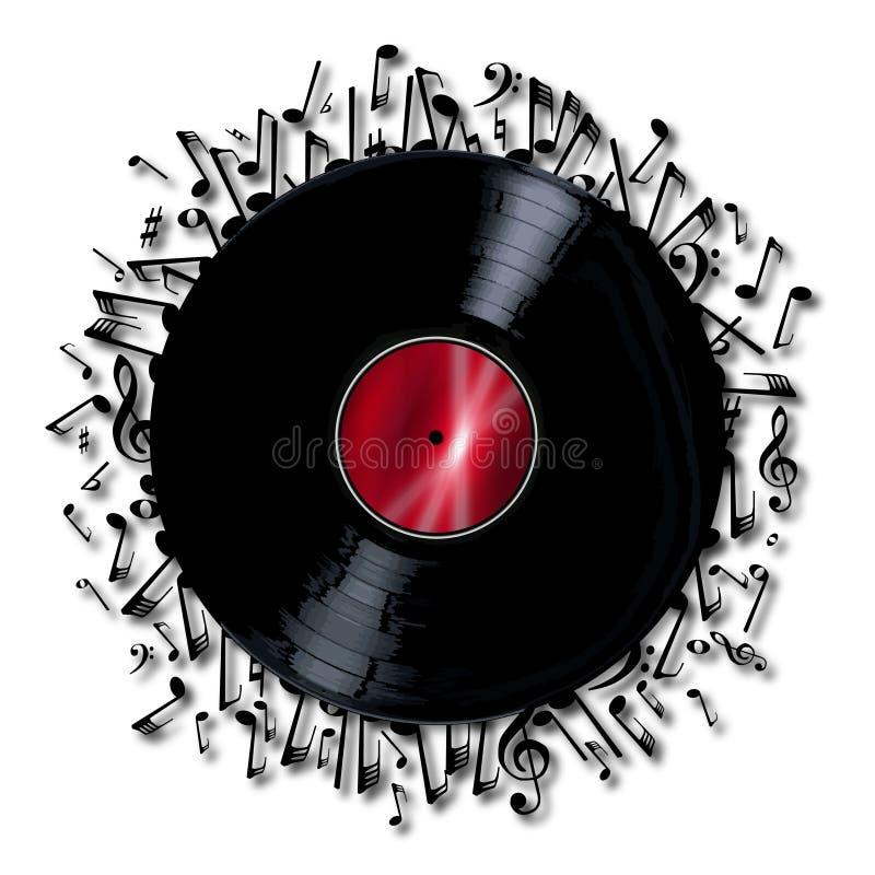 Rekord för musikaliska anmärkningar stock illustrationer