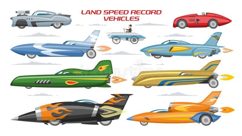 Rekord- landspeed bil för hastighetsbil vektor och snabb medeltransport på uppsättning för autoshowillustrationmaskineri av moder royaltyfri illustrationer