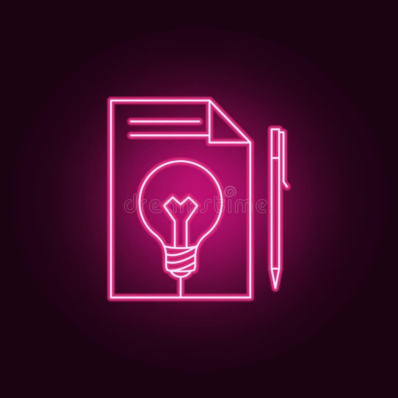 rekord på ett ark av papper och en neonsymbol för ljus kula r Enkel symbol f?r websites, reng?ringsdukdesign, mobil app, vektor illustrationer