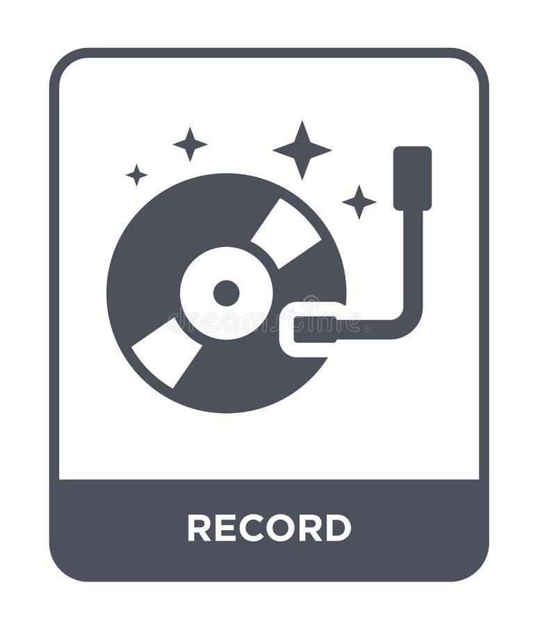 Rekordikone in der modischen Entwurfsart Rekordikone lokalisiert auf weißem Hintergrund einfaches und modernes flaches Symbol der lizenzfreie abbildung