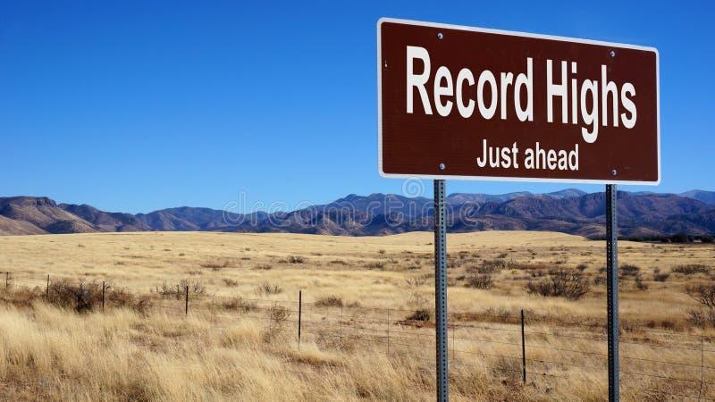 Rekordnivåer bryner vägmärket fotografering för bildbyråer