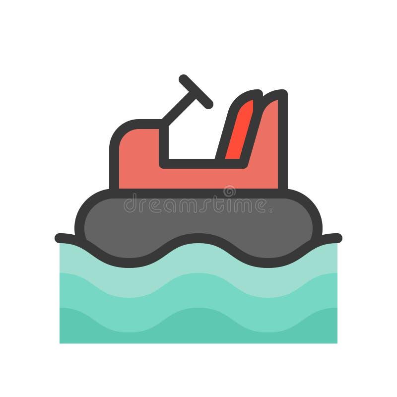 Rekordowa łódź, wypełniający konturu projekta editable uderzenie ilustracja wektor