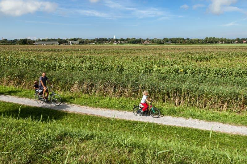 Rekreacyjny bicycling w polach obrazy stock