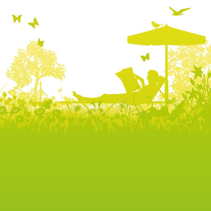 Rekreation i trädgården under paraplyet vektor illustrationer