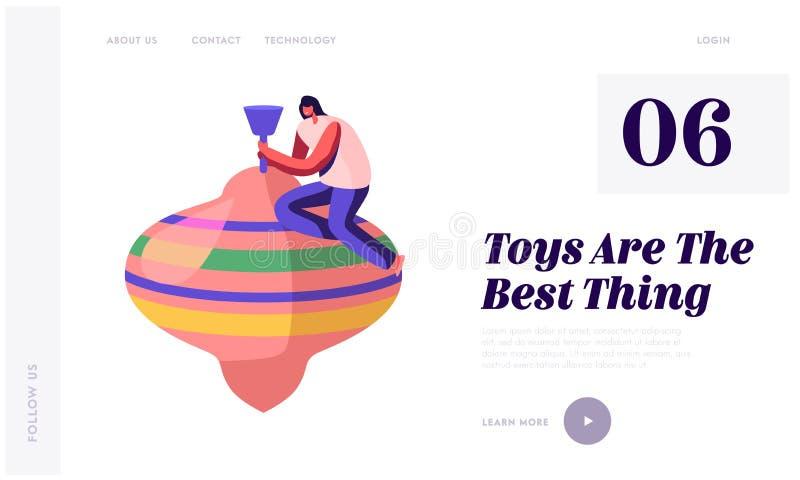 Rekreation jublar med behandla som ett barn leksakerwebsiten som landar sidan Kvinna som spelar med den enorma färgrika karuselle royaltyfri illustrationer