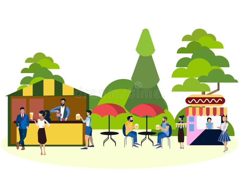 Rekreation parkerar, folk- och matområde I minimalist stil Plan vektor för tecknad film vektor illustrationer