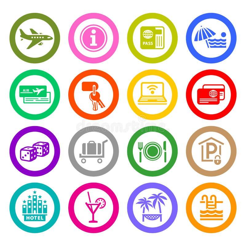 Rekreation reser & semestrar, fastställda symboler vektor illustrationer