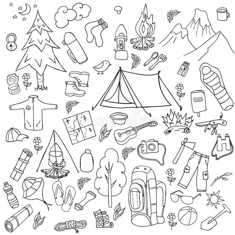 rekreation Turism och campa uppsättning Hand drog klotterbeståndsdelar - vektorillustration stock illustrationer