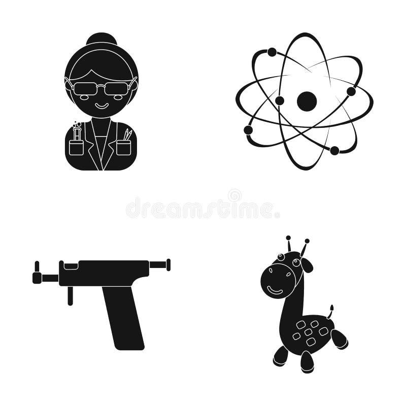 Rekreation, underhållning, yrke och annan rengöringsduksymbol i svart stil djur som är exotiskt, leksak, symboler i uppsättningsa royaltyfri illustrationer