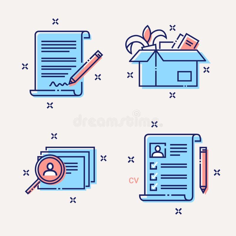 Rekrutacja, hr, cv, kontrakt, dismisssl ikony ustawiać ilustracja wektor
