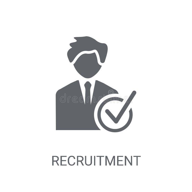Rekrutacyjna ikona Modny Rekrutacyjny logo pojęcie na białym backg royalty ilustracja