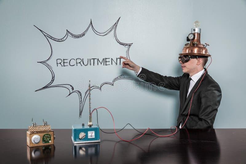 Rekrutacyjny pojęcie z rocznika biznesmenem obraz royalty free