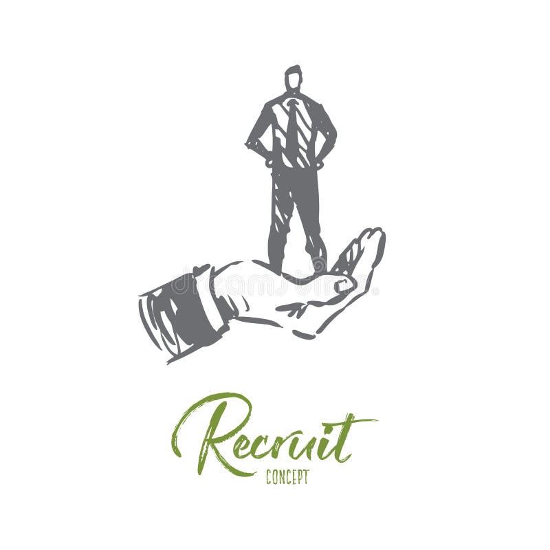 Rekrutering, baan, mens, zaken, onderzoeksconcept Hand getrokken geïsoleerde vector royalty-vrije illustratie