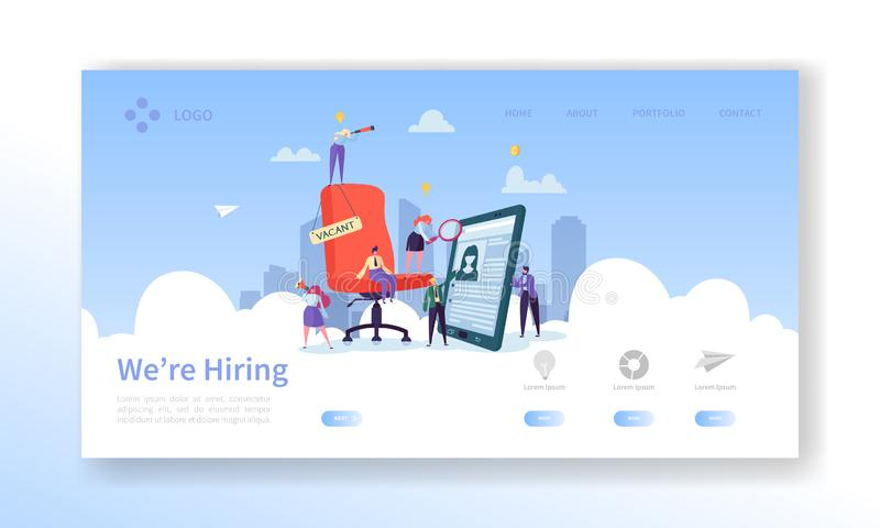 Rekrutering, het Conceptenlandingspagina van het Baangesprek Van de Karaktersu Managers van vacature Vlak Mensen de Websitemalpla vector illustratie