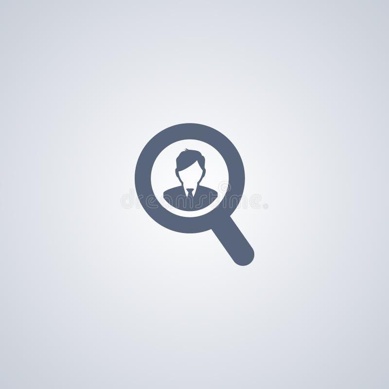 Rekrutering, onderzoeksmensen, vector beste vlak pictogram royalty-vrije illustratie