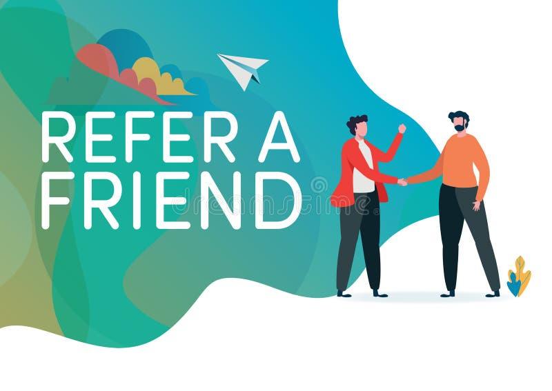 rekrutering Verwijs een vrienden vectorillustratie Handdruk van bedrijfsmensen Overeenkomst, Overeenkomst Vlak grafisch beeldverh vector illustratie