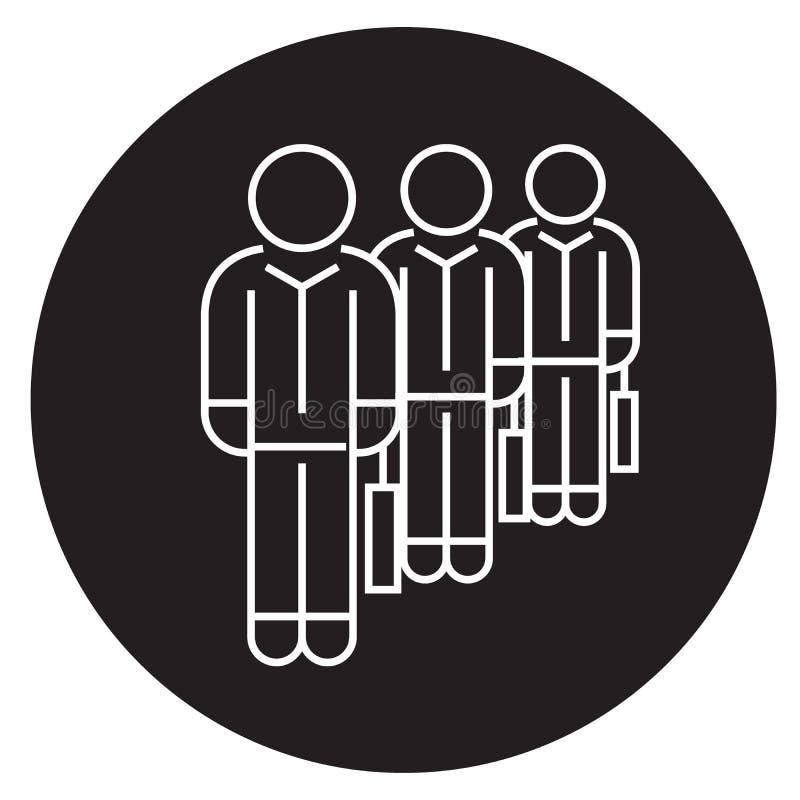 Rekruteringsagentschap, mensen met pictogram van het suticase het zwarte vectorconcept Rekruteringsagentschap, mensen met vlakke  royalty-vrije illustratie