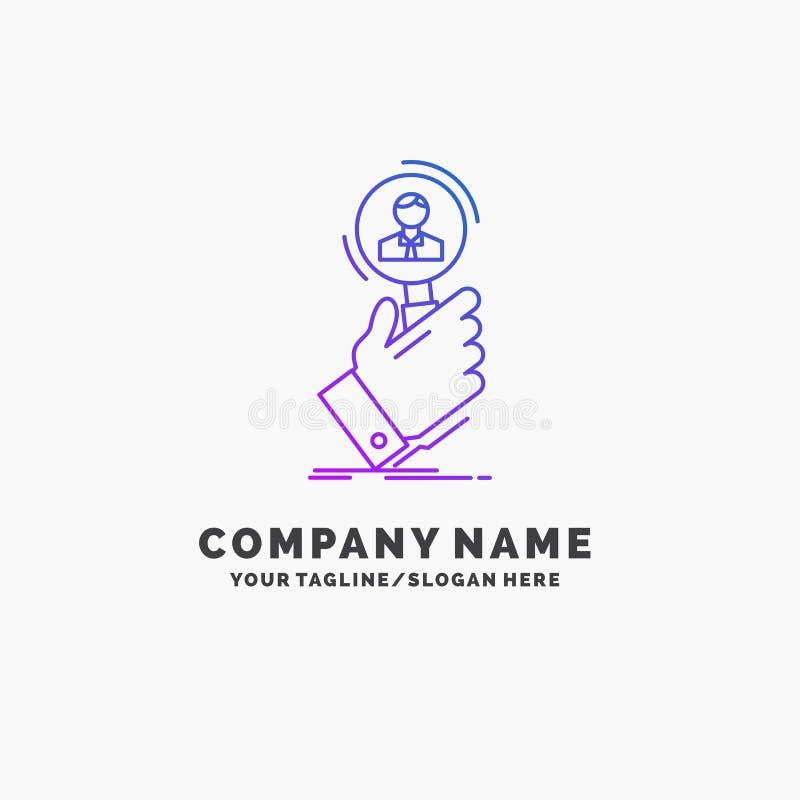 rekrytering sökande, fynd, personalresurs, purpurfärgad affär Logo Template för folk St?lle f?r Tagline stock illustrationer
