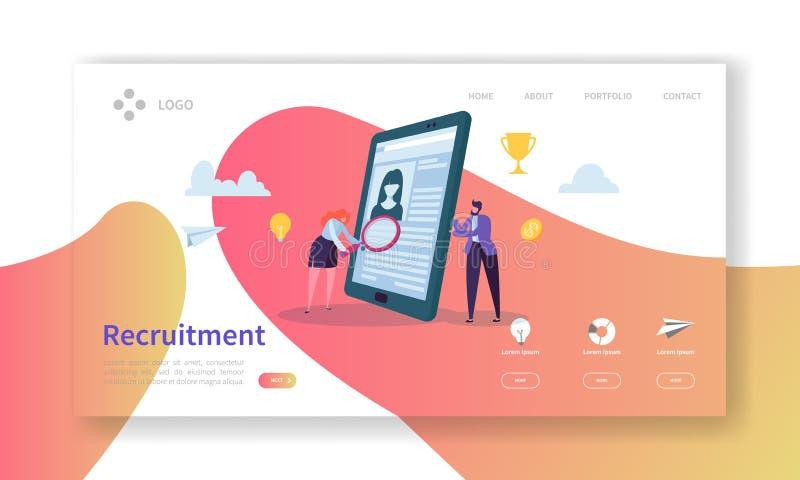 Rekrytering sida för landning för begrepp för jobbintervju För folktecken för vakans plan mall för Website för chefer för timme L stock illustrationer