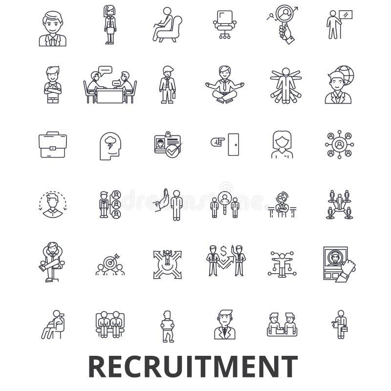 Rekrytering som hyr, personalresurser, karriär, intervju, anställning som bemannar linjen symboler Redigerbara slaglängder Plan d vektor illustrationer