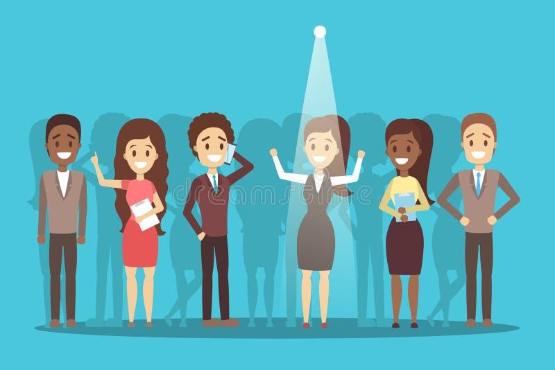 Rekryteringbegrepp Idé av att välja en kandidat stock illustrationer