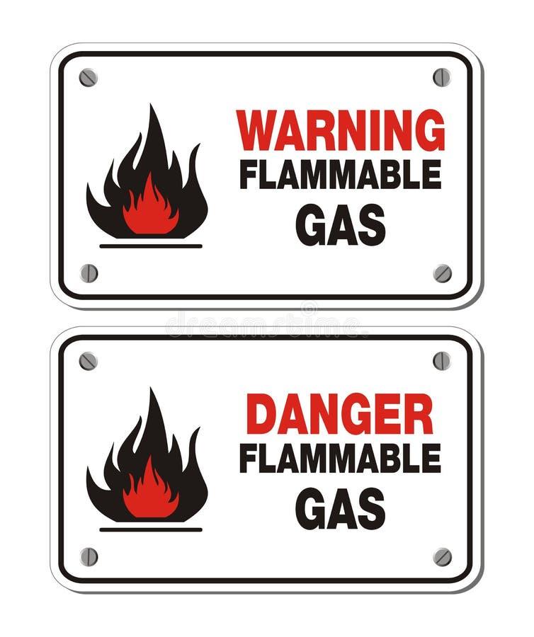 Rektangeln undertecknar - brännbar gas för varna och för fara vektor illustrationer