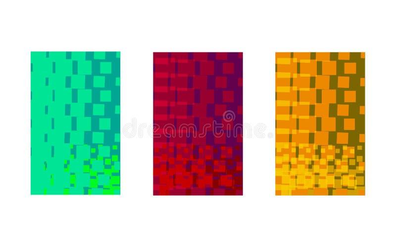 rektanglar av olika färger på den vita bakgrundsgeometriabstraktionen vektor illustrationer