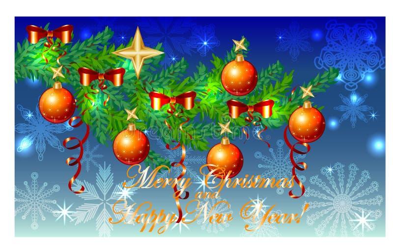 Rektangulär blå julbakgrund med snöflingor, barrträds- filialer som dekoreras med röda bollar, stjärnor vektor illustrationer