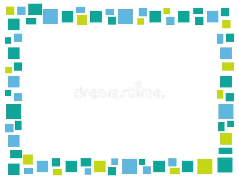 Rektangulär blå mosaikram på en vit bakgrund royaltyfri fotografi