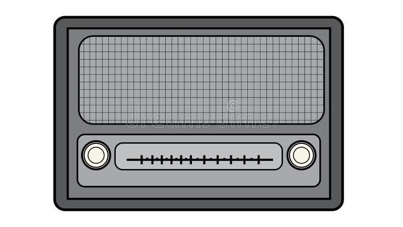 Rektangulär första hipsterradio för svartvit gammal retro antik tappning med en svart slaglängd, en musikradiomottagare med runda royaltyfri illustrationer