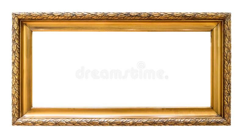 Rektangulär guld- dekorativ bildram som isoleras på vit arkivfoton