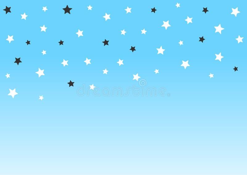 Rektangulär horisontalbakgrund med fallande stjärnor Enkel modern plan design stock illustrationer