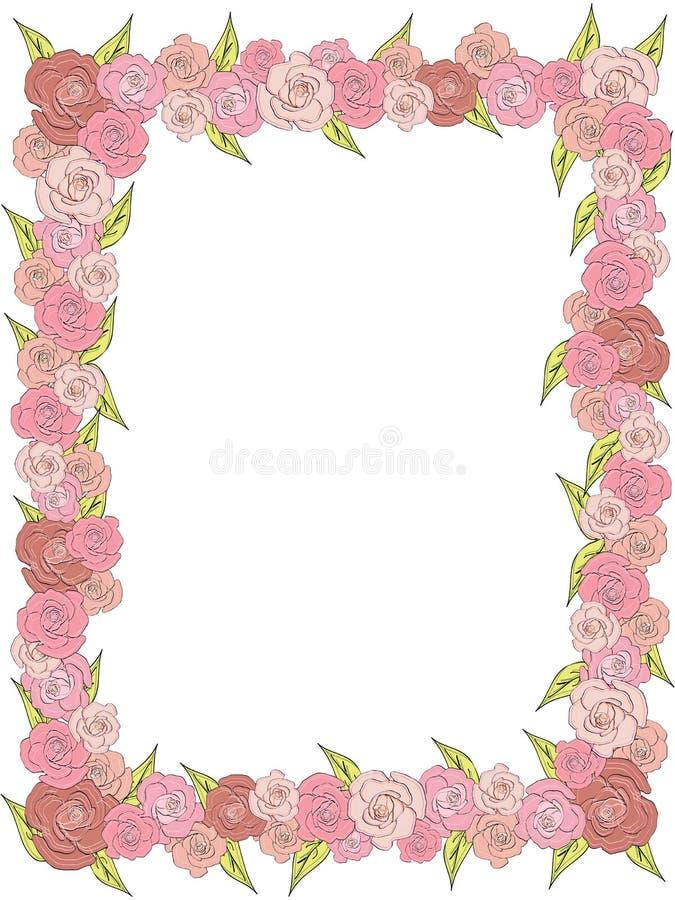 Rektangulär ram av delikata rosor som gifta sig vektor illustrationer