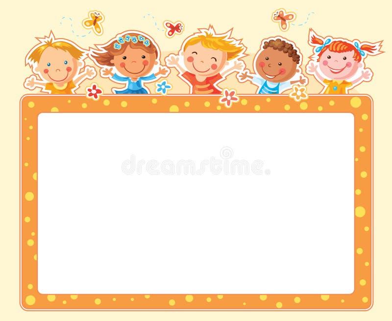 Rektangulär ram för lyckliga ungar royaltyfri illustrationer