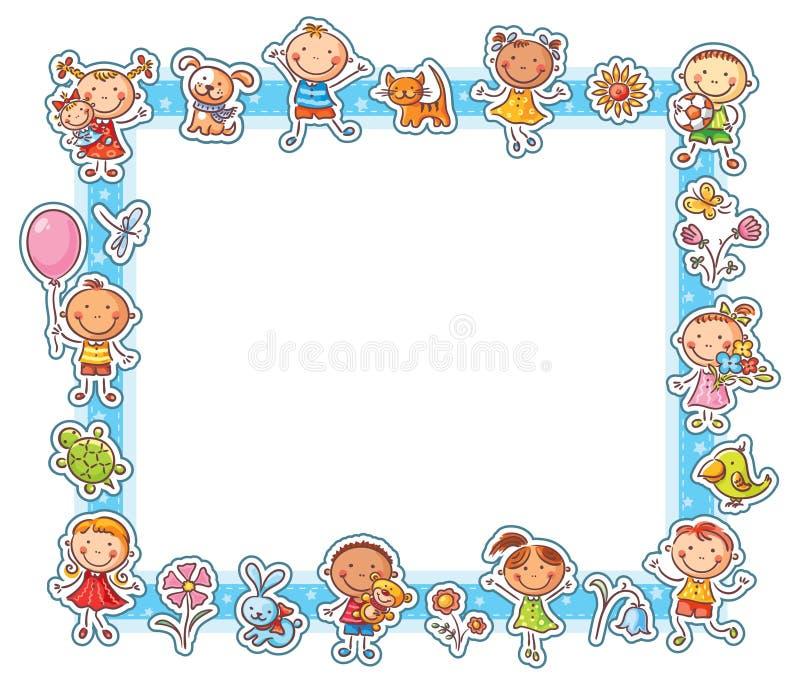 Rektangulär ram för lyckliga ungar stock illustrationer