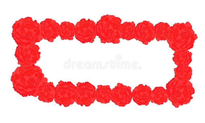 Rektangulär ram för vektor av röda rosor vektor illustrationer
