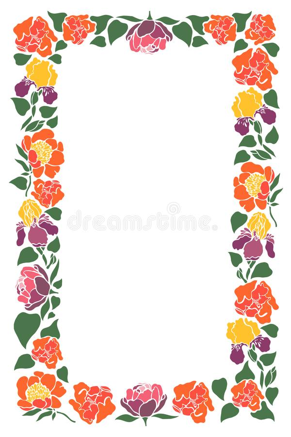 Rektangulär ram med blommor och sidor av pioner, iriers, tulpan vektor illustrationer