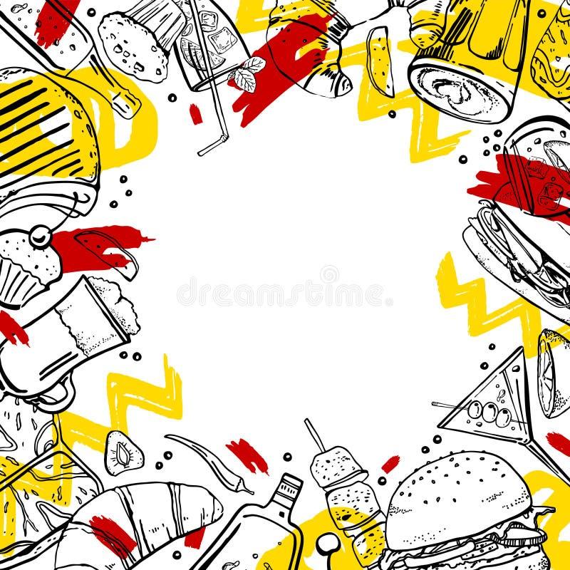 Rektangulär ram med kött, smörgåsar, coctailar, alkoholflaskor, efterrätter och kaffedrinkar stock illustrationer